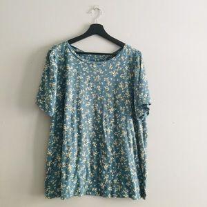 LOFT   Blue Floral Print Knit Tee